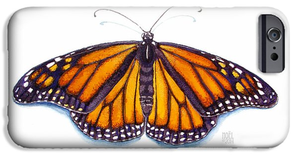 Catherine White Paintings iPhone Cases - Monarch Butterfly iPhone Case by Catherine Noel