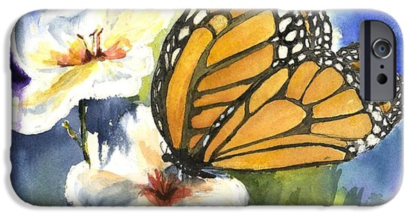 Young Paintings iPhone Cases - Monarchs in the Gardens iPhone Case by Maria Hunt