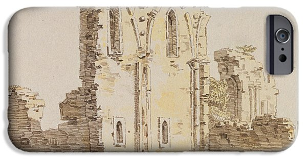 Ruin Drawings iPhone Cases - Monastery Ruins iPhone Case by Caspar David Friedrich