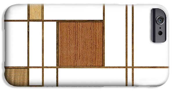 Mondrian iPhone Cases - Mondrian in Wood iPhone Case by Yo Pedro