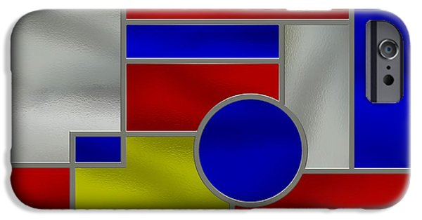 Stainless Steel iPhone Cases - Mondrian Influenced Stained Glass Panel No1 iPhone Case by Michael C Geraghty