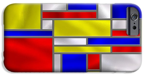 Best Sellers -  - Stainless Steel iPhone Cases - Mondrian Influenced Stained Glass panel No10 iPhone Case by Michael C Geraghty