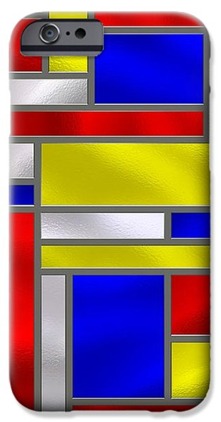 Mondrian Influenced Stained Glass panel No10 iPhone Case by Michael C Geraghty