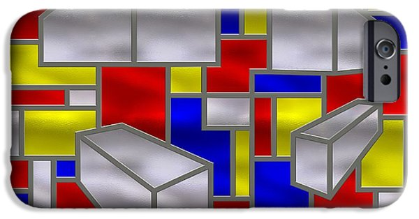 Stainless Steel iPhone Cases - Mondrian Influenced Stained Glass Panel No2 iPhone Case by Michael C Geraghty