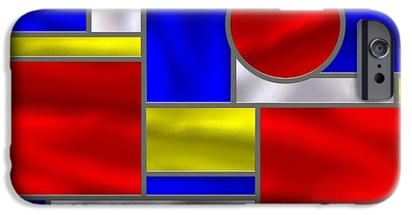 Stainless Steel iPhone Cases - Mondrian Influenced Stained Glass Panel No3 iPhone Case by Michael C Geraghty