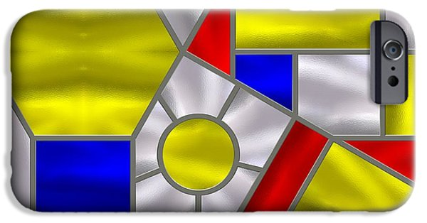 Stainless Steel iPhone Cases - Mondrian Influenced Stained Glass panel No4 iPhone Case by Michael C Geraghty