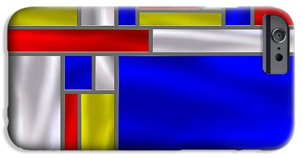 Stainless Steel iPhone Cases - Mondrian Influenced Stained Glass panel No5 iPhone Case by Michael C Geraghty