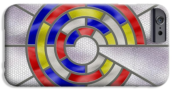 Stainless Steel iPhone Cases - Mondrian Influenced Stained Glass panel No6 iPhone Case by Michael C Geraghty