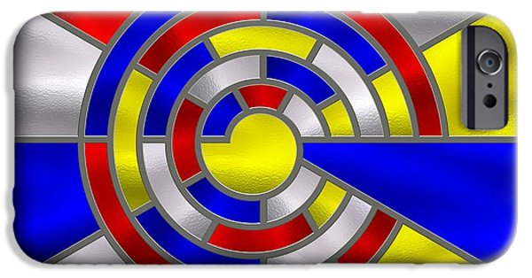 Best Sellers -  - Stainless Steel iPhone Cases - Mondrian Influenced Stained Glass panel No6a iPhone Case by Michael C Geraghty