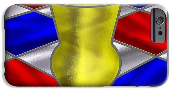 Stainless Steel iPhone Cases - Mondrian Influenced Stained Glass panel No7 iPhone Case by Michael C Geraghty
