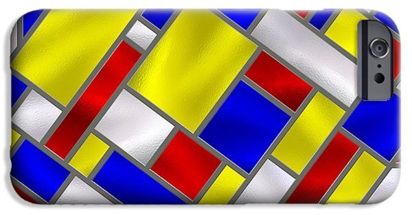Stainless Steel iPhone Cases - Mondrian Influenced Stained Glass panel No8 iPhone Case by Michael C Geraghty