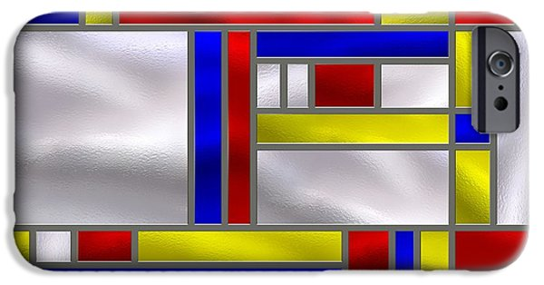 Stainless Steel iPhone Cases - Mondrian Influenced Stained Glass panel No9 iPhone Case by Michael C Geraghty