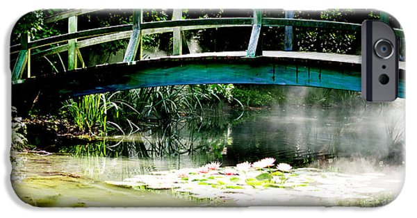 Waterscape Mixed Media iPhone Cases - Monet Bridge and Water Lilly Pond iPhone Case by ArtyZen Home