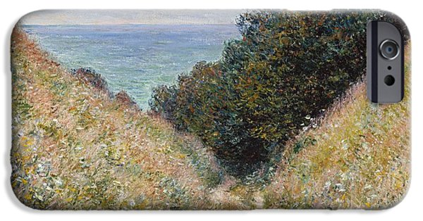 Business Paintings iPhone Cases - Monet Road at La Cavee Pourville 1882 iPhone Case by Movie Poster Prints