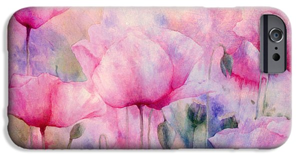 Flora Mixed Media iPhone Cases - Monets Poppies Vintage Cool iPhone Case by Georgiana Romanovna