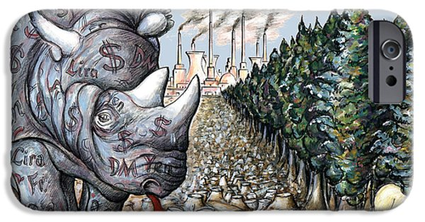 Rhinocerus iPhone Cases - Money against Nature - Cartoon Drawing iPhone Case by Peter Fine Art Gallery  - Paintings Photos Digital Art
