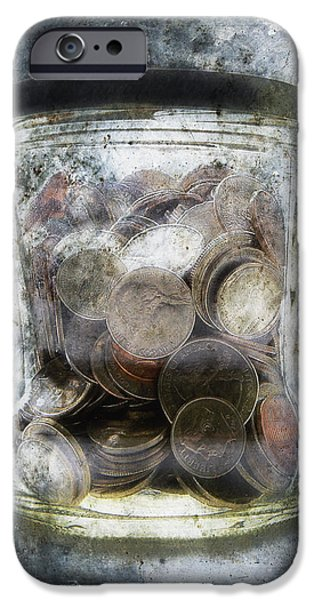 Worn In iPhone Cases - Money Frozen In A Jar iPhone Case by Skip Nall