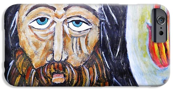 Contemplative Paintings iPhone Cases - Monk 3 iPhone Case by Sarah Loft