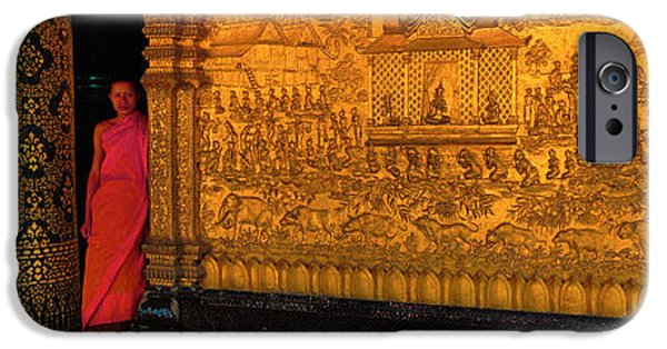 Interior Scene iPhone Cases - Monk In Prayer Hall At Wat Mai Buddhist iPhone Case by Panoramic Images
