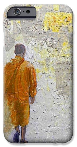 Buddhist iPhone Cases - Monk iPhone Case by Jolanta Shiloni