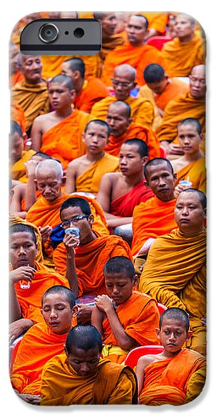 Monk Mass Alms Giving iPhone Case by Fototrav Print