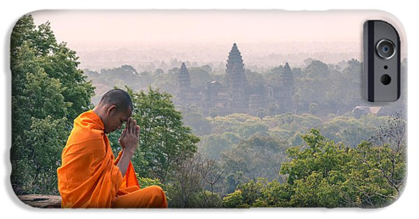 Self Awareness iPhone Cases - Monk meditating at Angkor wat temple- Cambodia iPhone Case by Matteo Colombo