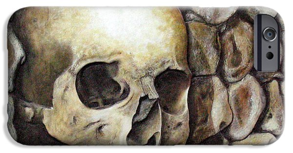 Creepy Reliefs iPhone Cases - Monk Relic iPhone Case by Elaine Booth-Kallweit