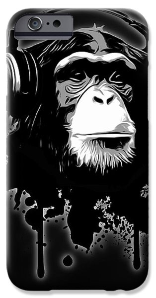 Monkey iPhone Cases - Monkey Business - Black iPhone Case by Nicklas Gustafsson