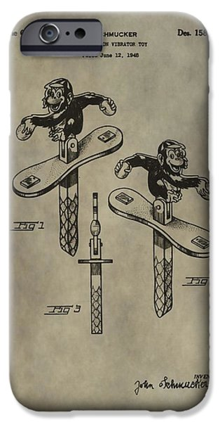 Toy Store iPhone Cases - Monkey Toy Patent iPhone Case by Dan Sproul
