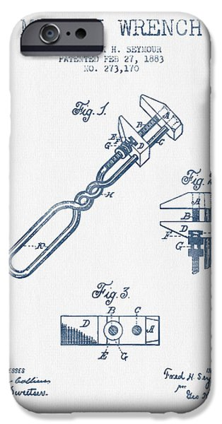 Mechanics Digital Art iPhone Cases - Monkey Wrench patent Drawing from 1883- Blue Ink iPhone Case by Aged Pixel