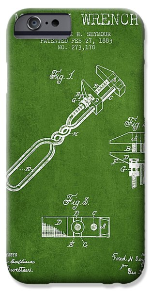 Mechanics Digital Art iPhone Cases - Monkey Wrench patent Drawing from 1883 - Green iPhone Case by Aged Pixel