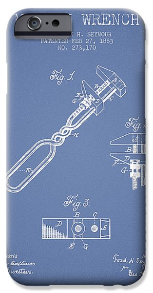 Mechanics Digital Art iPhone Cases - Monkey Wrench patent Drawing from 1883 - Light Blue iPhone Case by Aged Pixel