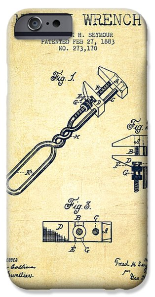 Mechanics Digital Art iPhone Cases - Monkey Wrench patent Drawing from 1883 - Vintage iPhone Case by Aged Pixel