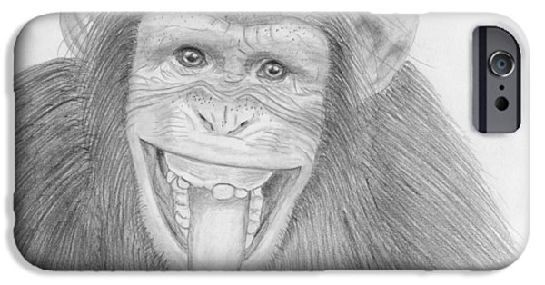 Metallic Print Drawings iPhone Cases - Monkeying Around iPhone Case by Jose Valeriano