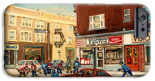 Store Fronts Paintings iPhone Cases - Monkland Street Hockey Game Montreal Urban Scene iPhone Case by Carole Spandau