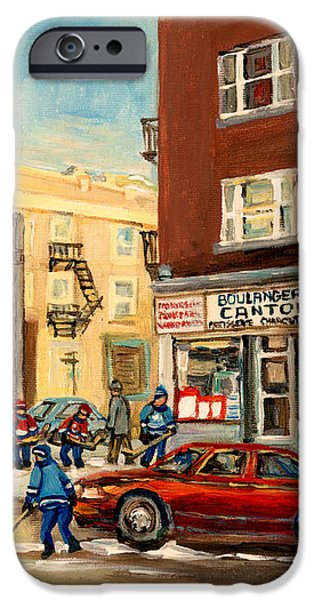 MONKLAND STREET HOCKEY GAME MONTREAL URBAN SCENE iPhone Case by CAROLE SPANDAU