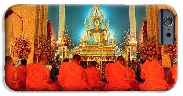 Buddhist iPhone Cases - Monks, Benchamapophit Wat, Bangkok iPhone Case by Panoramic Images
