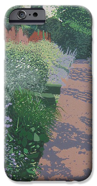 Garden Scene Paintings iPhone Cases - Monks Walk iPhone Case by Malcolm Warrilow