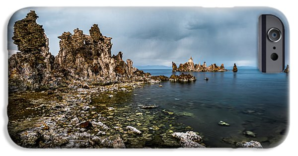 California Tourist Spots iPhone Cases - Mono Lake Rock Formations iPhone Case by Jerome Obille