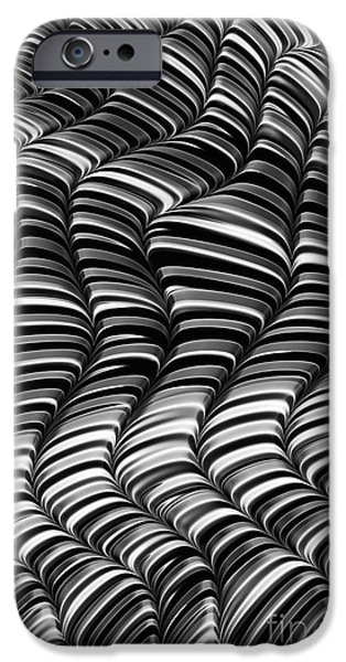 Waves Digital Art iPhone Cases - Mono Waves iPhone Case by John Edwards