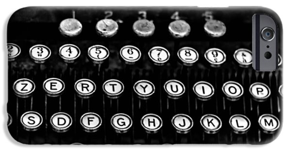 Typewriter Keys iPhone Cases - Monochrome Keys iPhone Case by Nomad Art And  Design