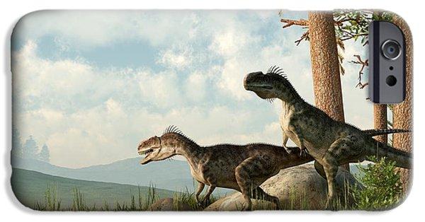 Extinct iPhone Cases - Monolophosaurs on the Hunt iPhone Case by Daniel Eskridge