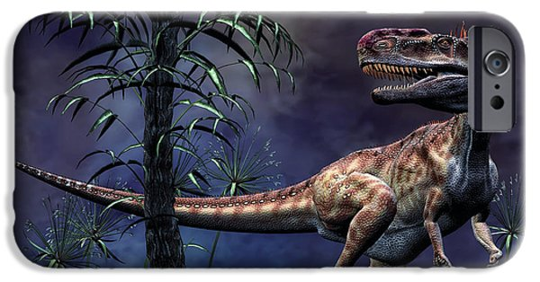 Mounds Digital iPhone Cases - Monolophosaurus Was A Theropod Dinosaur iPhone Case by Philip Brownlow