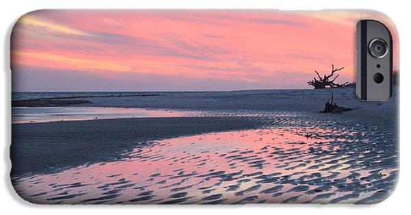 Massachusetts Coast iPhone Cases - Monomoy National Wildlife Refuge Cape Cod Tidal Flats Sunset iPhone Case by John Burk