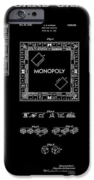 MONOPOLY BOARD GAME BLACK PATENT ART  1935 iPhone Case by Daniel Hagerman