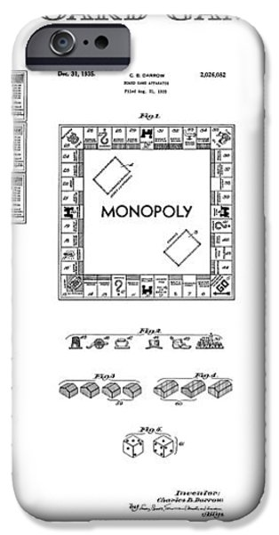 MONOPOLY BOARD GAME PATENT ART  1935 iPhone Case by Daniel Hagerman