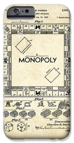 Monopoly iPhone Cases - Monopoly Board Game Patent Art iPhone Case by Gary Bodnar