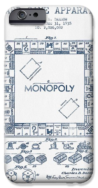 Board Digital Art iPhone Cases - Monopoly Patent from 1935 - Blue Ink iPhone Case by Aged Pixel