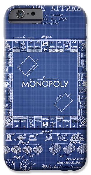 Board Digital Art iPhone Cases - Monopoly Patent from 1935 - Blueprint iPhone Case by Aged Pixel