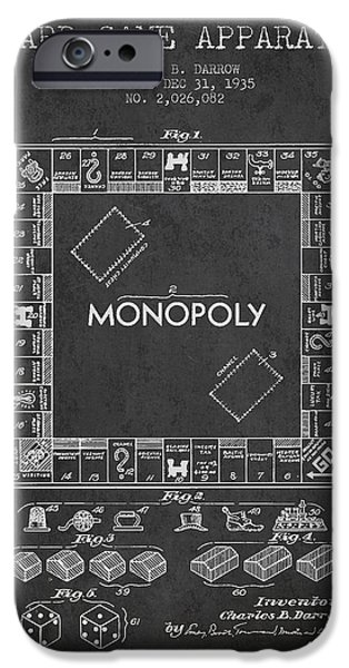 Board Digital Art iPhone Cases - Monopoly Patent from 1935 - Dark iPhone Case by Aged Pixel